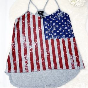 Forever 21 Stars and Stripes Distressed Tank Top